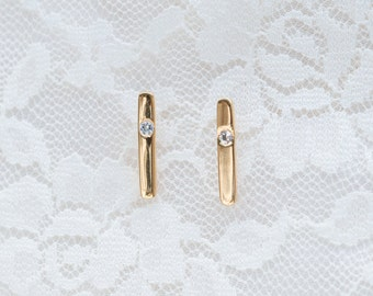 14K 18K gold diamond bar ear studs, rose gold white sapphire earrings