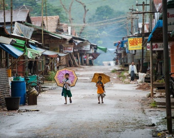 Umbrella Kids - Myanmar - Travel Photography - Street Photography