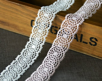 "20 yard 2cm 0.78"" wide ivory/pink embroidery lace trim ribbon L22K412 free ship"