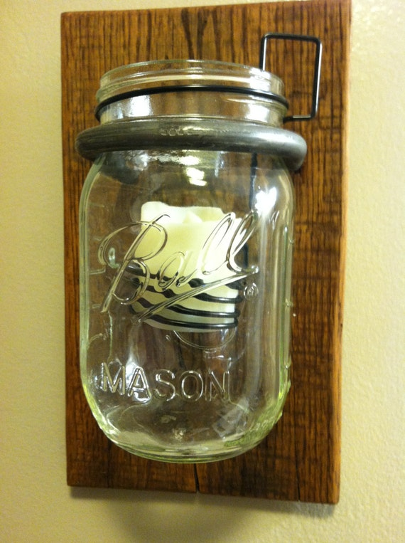 Mason Jar light / Wall hanging / Tea light with mason jar