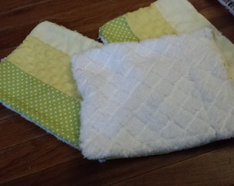 Chenille Baby burp cloths- set of 3 - Green and yellow
