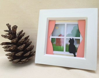 Scene Through a Window: layered paper cut scene in hand painted frame