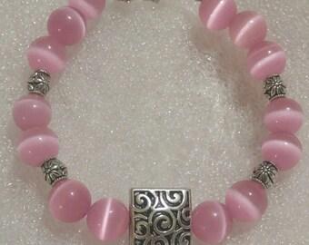 Pink Cats Eye Beaded Bracelet