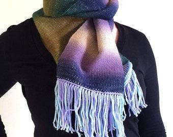 Handwoven soft wool merino scarf in green, purple and cream