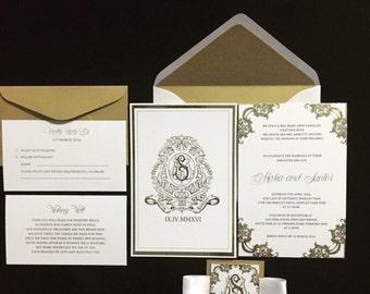 Gold Foil Wedding Invitation Set