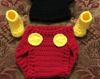 Crochet mickey mouse set/gift idea/photo prop/mickey mouse