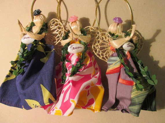 Handcrafted Hawaiian Hula Straw Shell Angel Christmas Tree