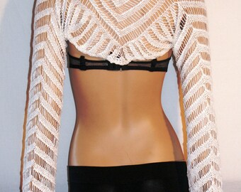 White Crochet Cover Up, Crochet White Shrug, Beach Crochet Shrug, Summer Shrug, Coprispalle Bianco, Cotone, Ibiza Style, Gipsy, One Size