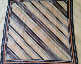 Robinson Golluber Vintage Scarf with Diagonal Blue and Coral Stripes