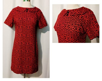 Red Mod Mini Shift Dress with Black Floral Print and Peter Pan Collar