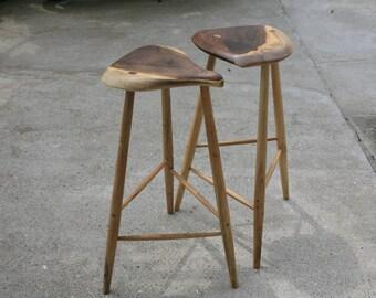 Walnut bar stools inspired by Esherick