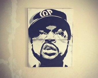 ice cube graffiti on canvas