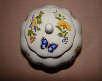 Aynsley 'Cottage Garden' china lidded bowl/jar, sugar bowl/trinket box/ginger jar. Butterfly and floral design, orange, blue, green, yellow