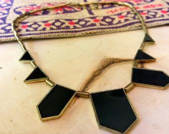 Geometric Necklace / Black Geometric Necklace / Black Necklace / Statement Necklace / Minimal Necklace / Gift Women / Bronze Necklace / Boho