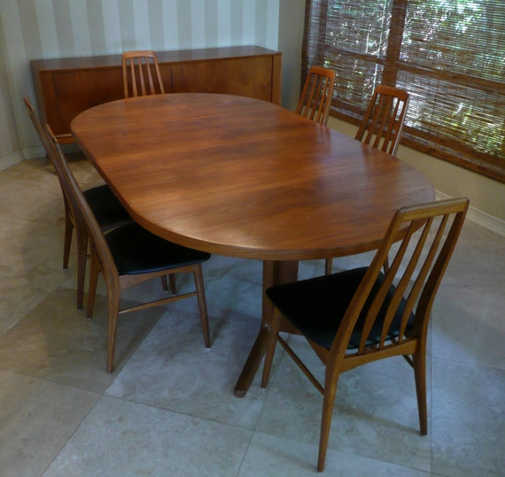 mid century modern danish teak dining room set with danish