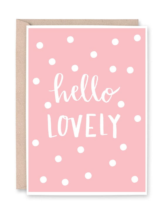 Hello lovely card cute greeting calligraphy