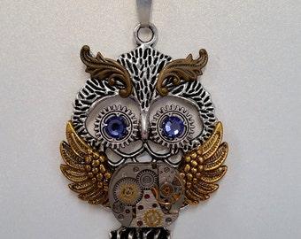 Steampunk Watch Movement Owl Pendant