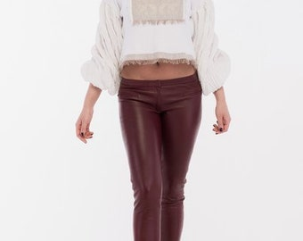 leather pants-color pants Marsala-real leather-tight leather pants
