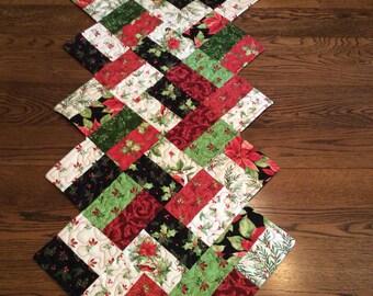 Handmade quilted Christmas runner/ table topper zig zag shape