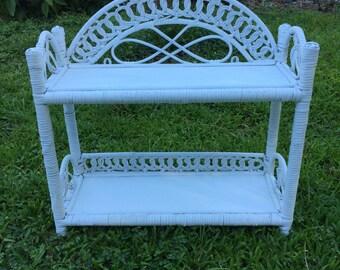 Vintage Wicker Shelf, White paint, Nantucket Wicker, Real wood wicker, Not plastic or string.