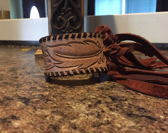 Feather Tooled Whipstich and Fringe Cuff