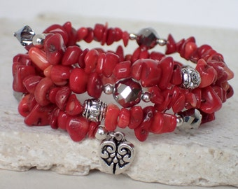 Red Gemstone Beaded Memory Wire Bracelet with Charm