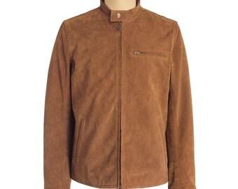 Brown suede cafe racer leather jacket