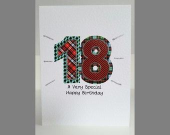 Special Wishes Large Birthday Tartan Number 18 Card SW BI09