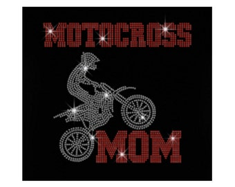 Cool Motocross Mom Heat Press Sport Motorcycle Rhinestone Iron on Transfer Baseball Softball Baseketball Logo Appliques Hotfix for Clothes