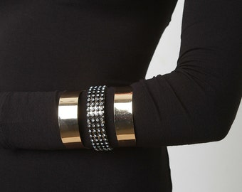 Glitter mesh cutout arm cuff - gold