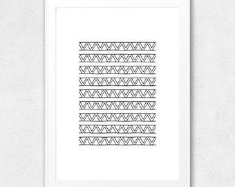 Geometric Printable Wall Art, Tribal Print, Geometric Poster, Wall Decor, Printable Geometric Art, Tribal Art, Hand Drawn Triangle Pattern