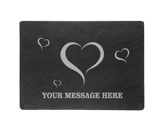 Hearts & Love Placemat- Natural Slate Placemats Pack of 2