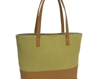 Tote bag biotechnology Wash processing leather combination Yellow / Camel No. 8 canvas A4 file enters from Japan
