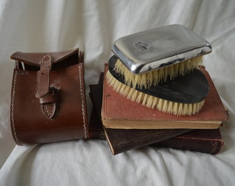 Brush set in leather case