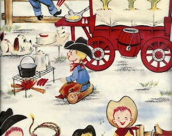Cowboys, Campfire and Wagon Fabric...Lil Cowpoke Cowboys Campfire Scenic Quilt Fabric Michael Miller 248.