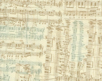 Music Notes Serenade on Natural Moda Fabrics