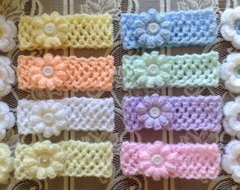Soft stretchy baby headbands with detatchable flowers