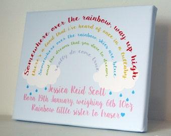 Personalised rainbow baby gift picture nursery print new baby boy girl keepsake