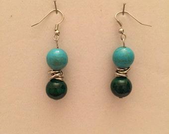 Turquoise 'n Jade Drop Earrings