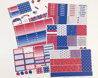 4th of July Weekly Kit / Planner Stickers / Erin Condren Planner Stickers / Horizontal