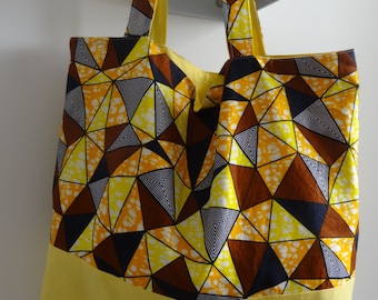 Large, handmade 100% cotton, Holland wax print Tote bag
