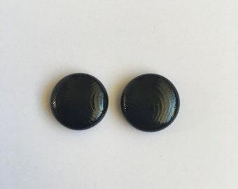 15mm Black Glossy Fabric Studs
