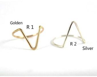 V Ring, Triangle Ring, Silver V Ring, Golden V Ring