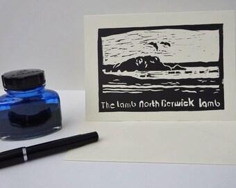 North Berwick Lamb - linocut - Scotland, East Lothian, island, black, letterpress, greeting card, sea, seagulls, waves, beach