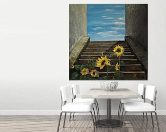Oil painting abstract painting, oil painting, abstract, original, modern, large size 120 x 120 cm, sunflower artists: Birgithell