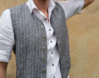 Grey Striped Linen Six Button Men's Vest, Plus size Men's Linen Vest