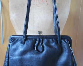 1950s/60s very dark navy 'Freedex' leather handbag