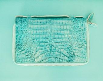 Turquoise crocodile leather purse