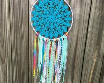 Big Blue Rainbow Doily Dreamcatcher
