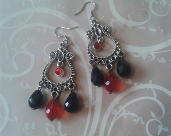 Earrings with black and Red drops